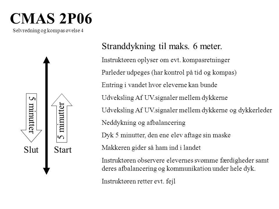 5 minutter StartSlut CMAS 2P06 Selvredning og kompas øvelse 4 Stranddykning til maks.