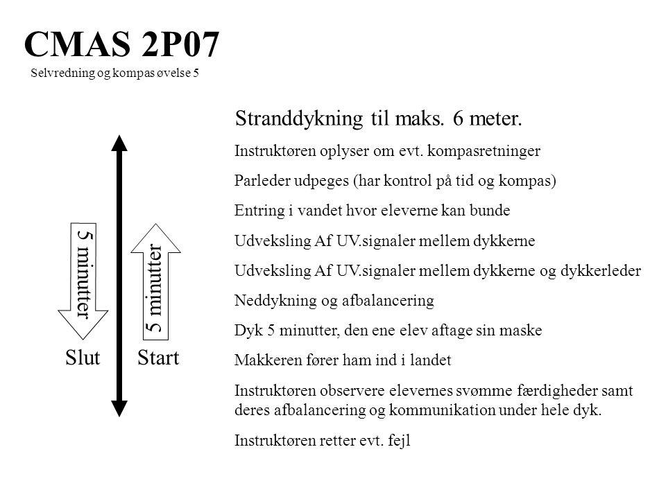 5 minutter StartSlut CMAS 2P07 Selvredning og kompas øvelse 5 Stranddykning til maks.