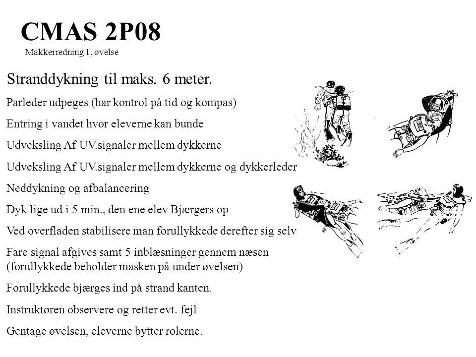 CMAS 2P08 Makkerredning 1, øvelse Stranddykning til maks.