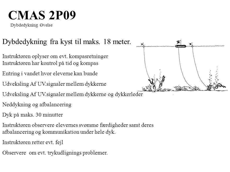 CMAS 2P09 Dybdedykning Øvelse Dybdedykning fra kyst til maks.