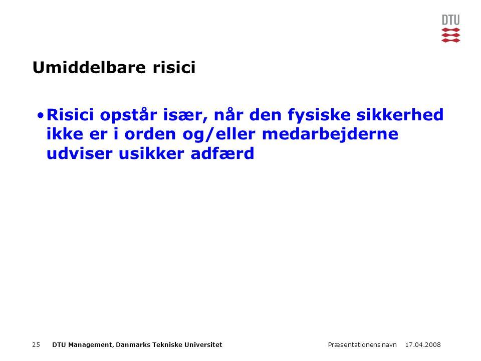 17.04.2008Præsentationens navn25DTU Management, Danmarks Tekniske Universitet Umiddelbare risici •Risici opstår især, når den fysiske sikkerhed ikke e