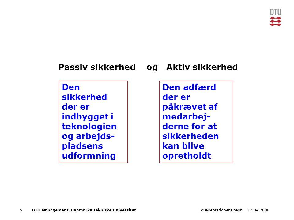 17.04.2008Præsentationens navn6DTU Management, Danmarks Tekniske Universitet Barriere som forebyggelse Ulykke Forebyggende barrierer Beskyttende barrierer Beskyttelses begrænsninger Aktive eller passive barrierer, som fungere forebyggende på at uønskede hændelser opstår Aktive barrierer som beskytter mod skader Passive barrierer som minimerer konsekvenserne Uønsket hændelse Hollnagel 1999