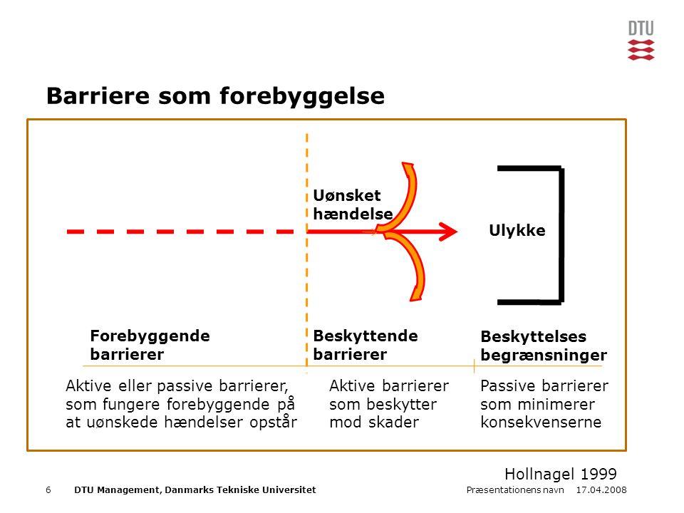 17.04.2008Præsentationens navn6DTU Management, Danmarks Tekniske Universitet Barriere som forebyggelse Ulykke Forebyggende barrierer Beskyttende barri