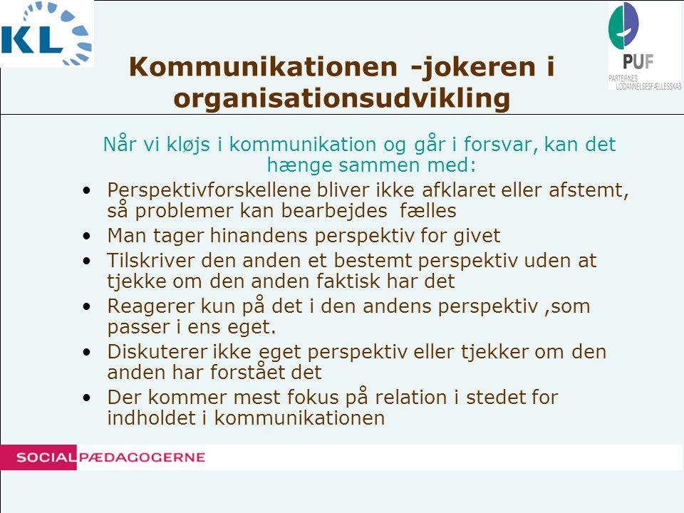 Kommunikationen -jokeren i organisationsudvikling •Skærpe vores opmærksomhed om ukendte ressourcer i kommunikationen •Der kan også være også utilsigtede konsekvenser af måden vi kommunikerer på.