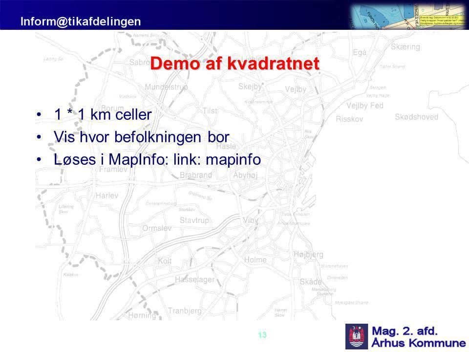 13 Demo af kvadratnet •1 * 1 km celler •Vis hvor befolkningen bor •Løses i MapInfo: link: mapinfo