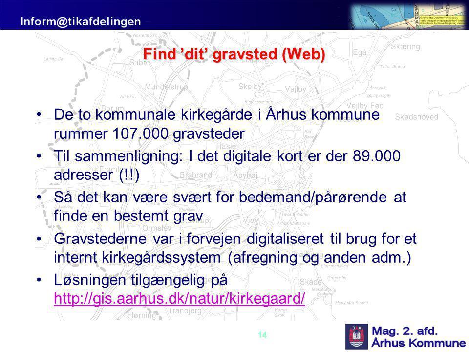 14 Find 'dit' gravsted (Web) •De to kommunale kirkegårde i Århus kommune rummer 107.000 gravsteder •Til sammenligning: I det digitale kort er der 89.000 adresser (!!) •Så det kan være svært for bedemand/pårørende at finde en bestemt grav •Gravstederne var i forvejen digitaliseret til brug for et internt kirkegårdssystem (afregning og anden adm.) •Løsningen tilgængelig på http://gis.aarhus.dk/natur/kirkegaard/ http://gis.aarhus.dk/natur/kirkegaard/