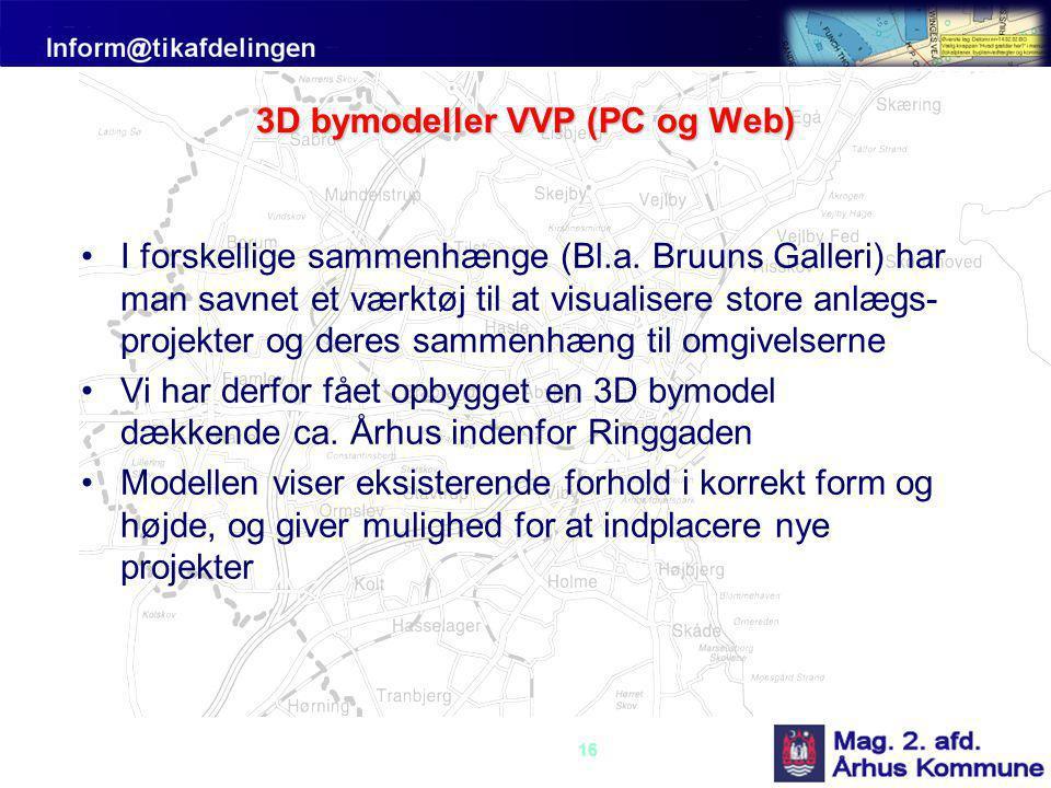 16 3D bymodeller VVP (PC og Web) •I forskellige sammenhænge (Bl.a.