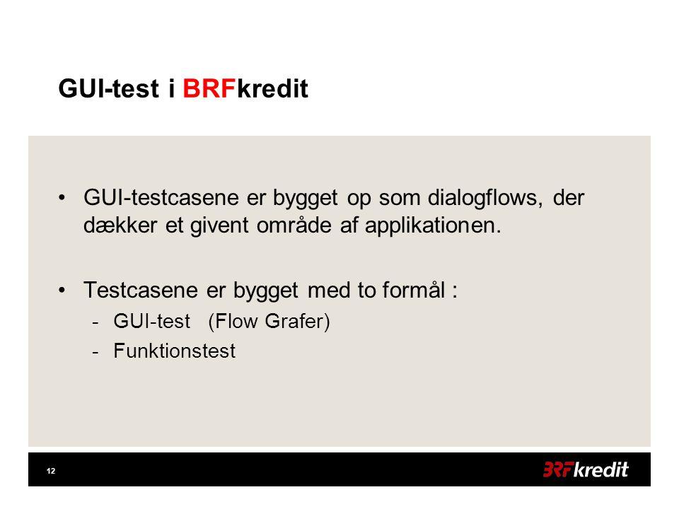 12 GUI-test i BRFkredit •GUI-testcasene er bygget op som dialogflows, der dækker et givent område af applikationen.