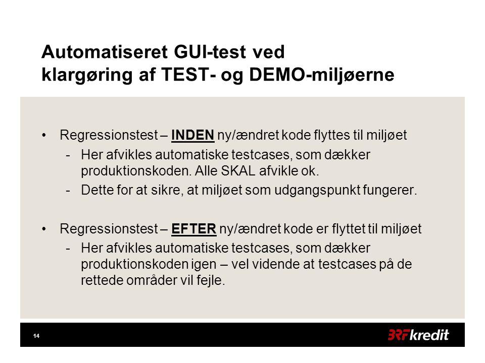 14 Automatiseret GUI-test ved klargøring af TEST- og DEMO-miljøerne •Regressionstest – INDEN ny/ændret kode flyttes til miljøet -Her afvikles automatiske testcases, som dækker produktionskoden.