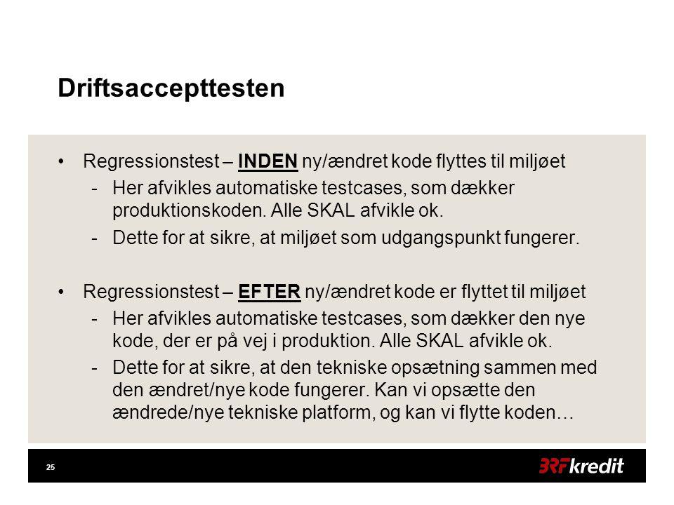 25 Driftsaccepttesten •Regressionstest – INDEN ny/ændret kode flyttes til miljøet -Her afvikles automatiske testcases, som dækker produktionskoden.