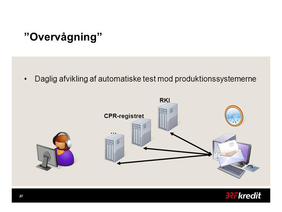 27 Overvågning •Daglig afvikling af automatiske test mod produktionssystemerne RKI CPR-registret …