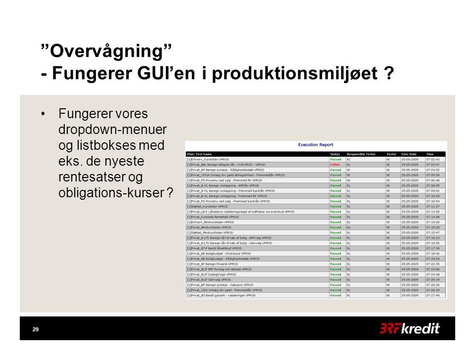 29 Overvågning - Fungerer GUI'en i produktionsmiljøet .