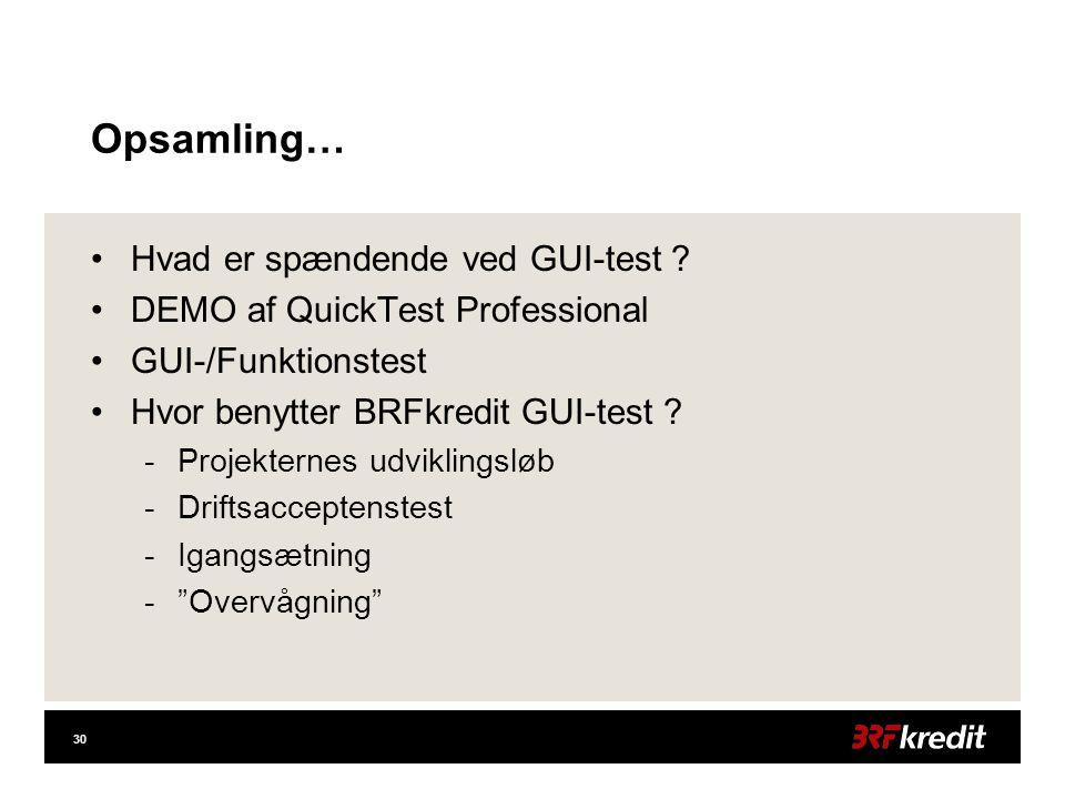 30 Opsamling… •Hvad er spændende ved GUI-test .