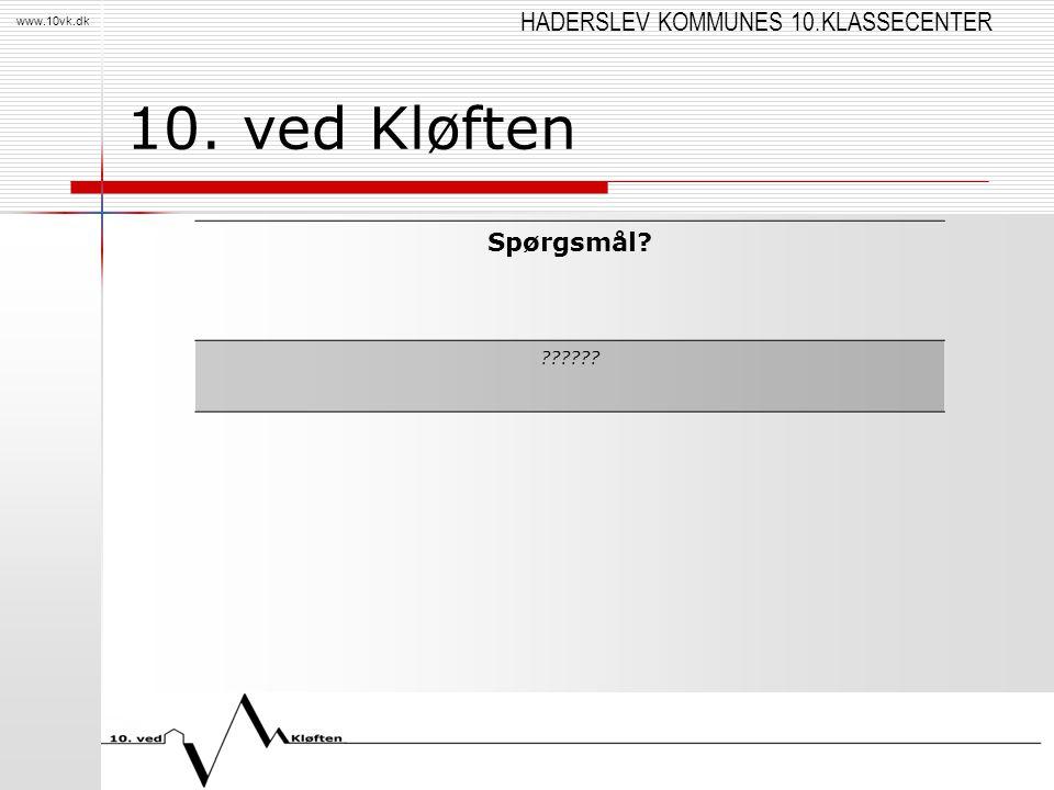 HADERSLEV KOMMUNES 10.KLASSECENTER www.10vk.dk 10. ved Kløften Spørgsmål? ??????