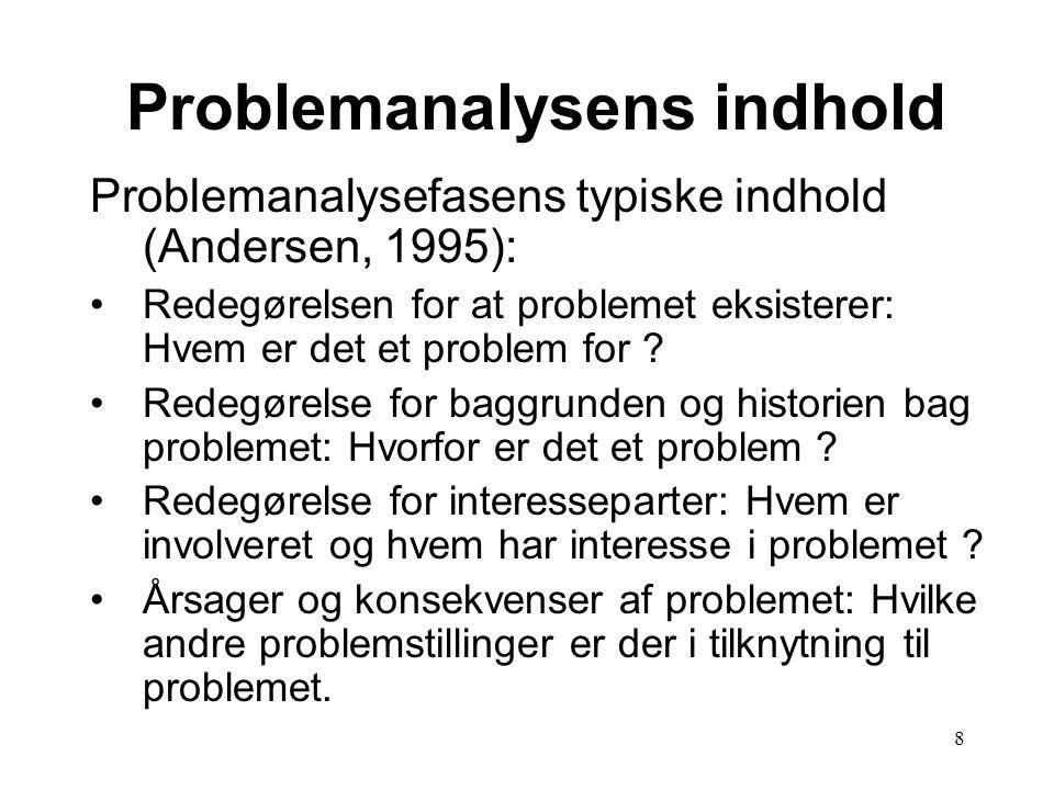 8 Problemanalysefasens typiske indhold (Andersen, 1995): •Redegørelsen for at problemet eksisterer: Hvem er det et problem for .