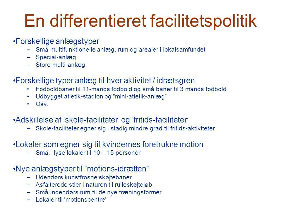 En differentieret facilitetspolitik •Forskellige anlægstyper –Små multifunktionelle anlæg, rum og arealer i lokalsamfundet –Special-anlæg –Store multi