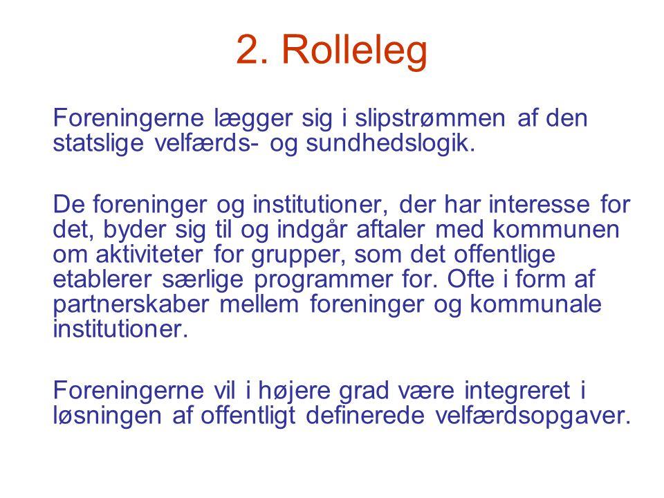 2. Rolleleg Foreningerne lægger sig i slipstrømmen af den statslige velfærds- og sundhedslogik. De foreninger og institutioner, der har interesse for