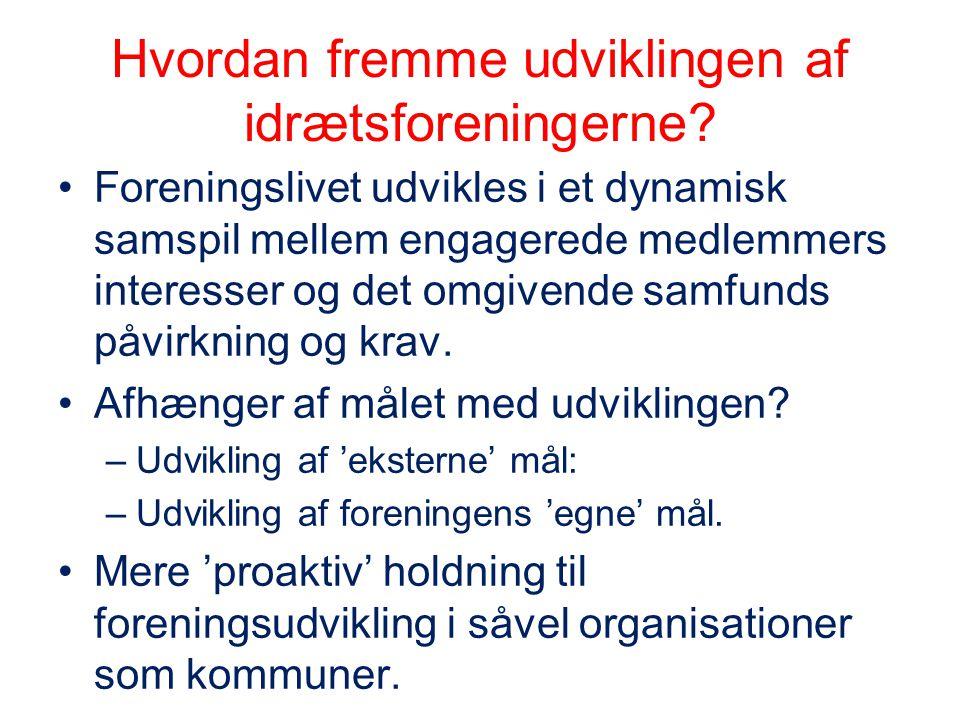 Hvordan fremme udviklingen af idrætsforeningerne? •Foreningslivet udvikles i et dynamisk samspil mellem engagerede medlemmers interesser og det omgive