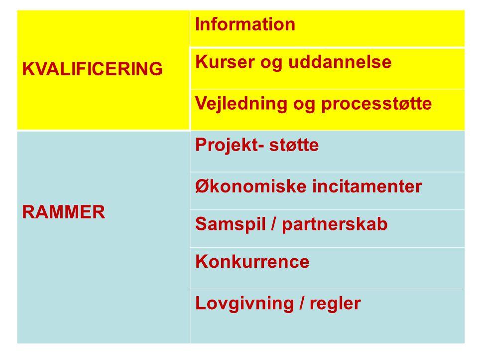 KVALIFICERING Information Kurser og uddannelse Vejledning og processtøtte RAMMER Projekt- støtte Økonomiske incitamenter Samspil / partnerskab Konkurr