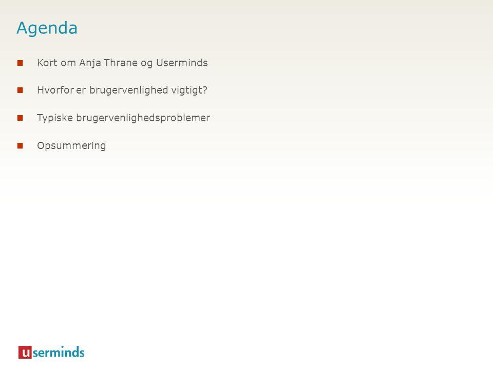 Agenda  Kort om Anja Thrane og Userminds  Hvorfor er brugervenlighed vigtigt?  Typiske brugervenlighedsproblemer  Opsummering