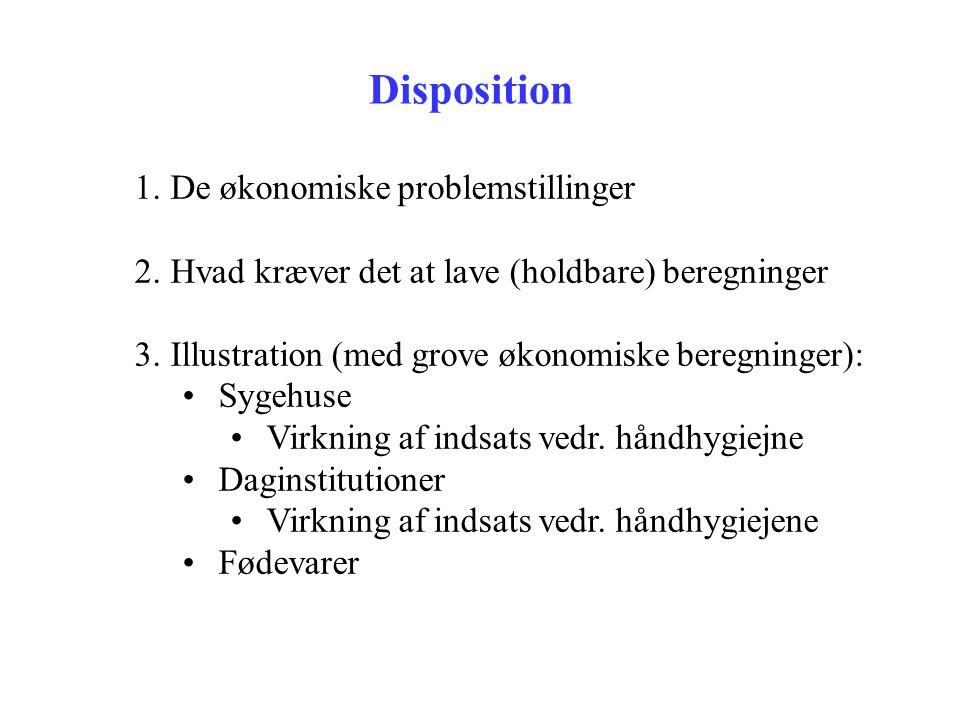To økonomiske problemstillinger 1.Hvad er konsekvenserne af dårlig hygiejne, fx på grund af infektioner (fagøkonomisk: 'cost-of-illness') •For samfundsøkonomien.