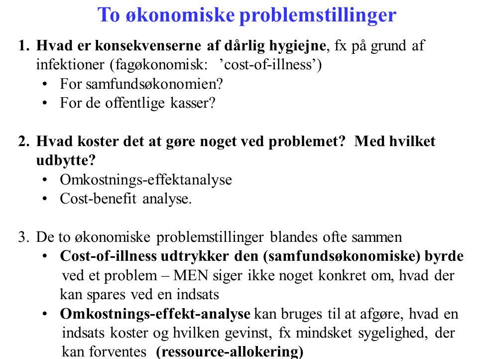 To økonomiske problemstillinger 1.Hvad er konsekvenserne af dårlig hygiejne, fx på grund af infektioner (fagøkonomisk: 'cost-of-illness') •For samfund