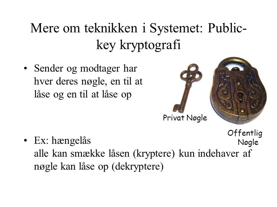 Mere om teknikken i Systemet: Public- key kryptografi •Sender og modtager har hver deres nøgle, en til at låse og en til at låse op •Ex: hængelås alle kan smække låsen (kryptere) kun indehaver af nøgle kan låse op (dekryptere) Offentlig Nøgle Privat Nøgle