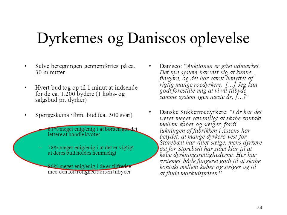 24 Dyrkernes og Daniscos oplevelse •S•Selve beregningen gennemførtes på ca.