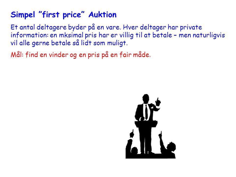 Simpel first price Auktion Et antal deltagere byder på en vare.