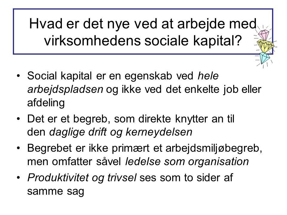 Hvad er det nye ved at arbejde med virksomhedens sociale kapital? •Social kapital er en egenskab ved hele arbejdspladsen og ikke ved det enkelte job e