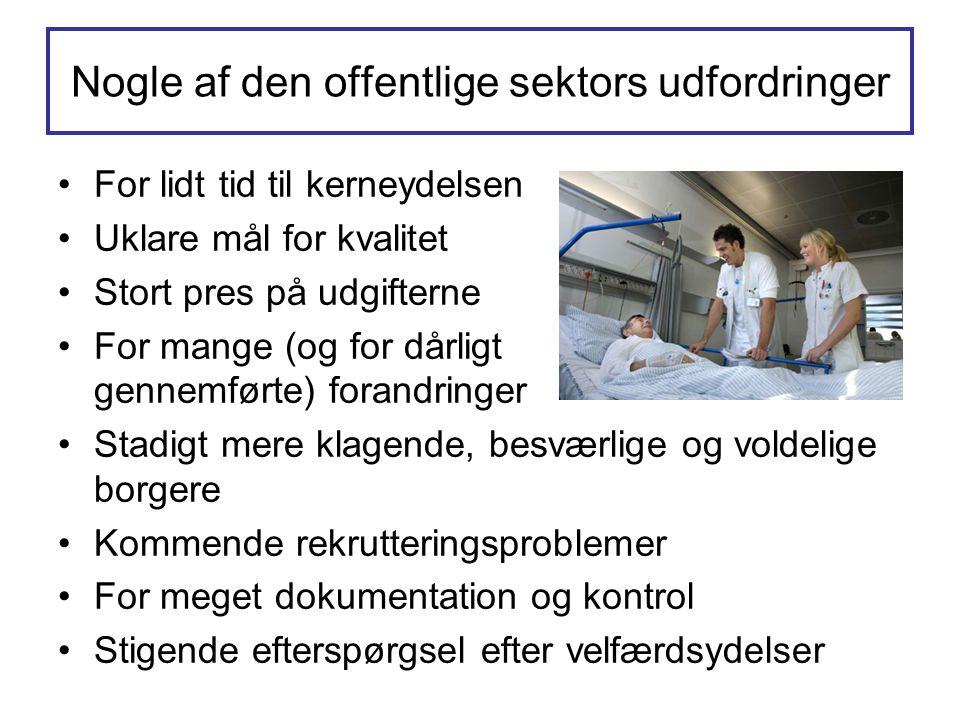 Nogle af den offentlige sektors udfordringer •For lidt tid til kerneydelsen •Uklare mål for kvalitet •Stort pres på udgifterne •For mange (og for dårl