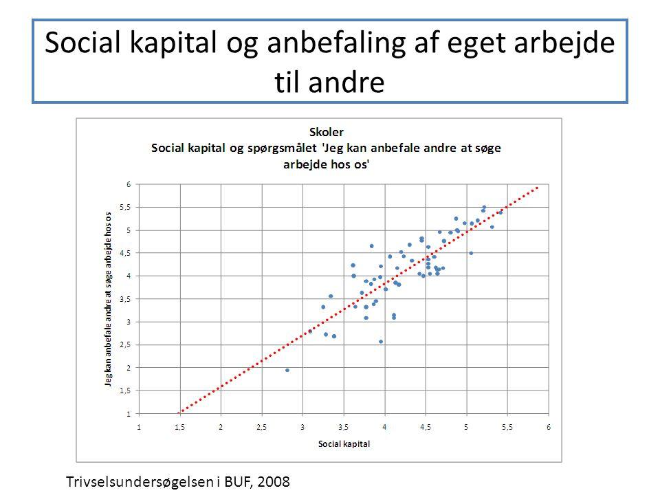 Social kapital og anbefaling af eget arbejde til andre Trivselsundersøgelsen i BUF, 2008