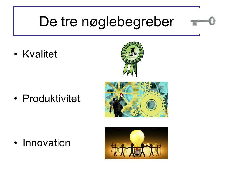 De tre nøglebegreber •Kvalitet •Produktivitet •Innovation
