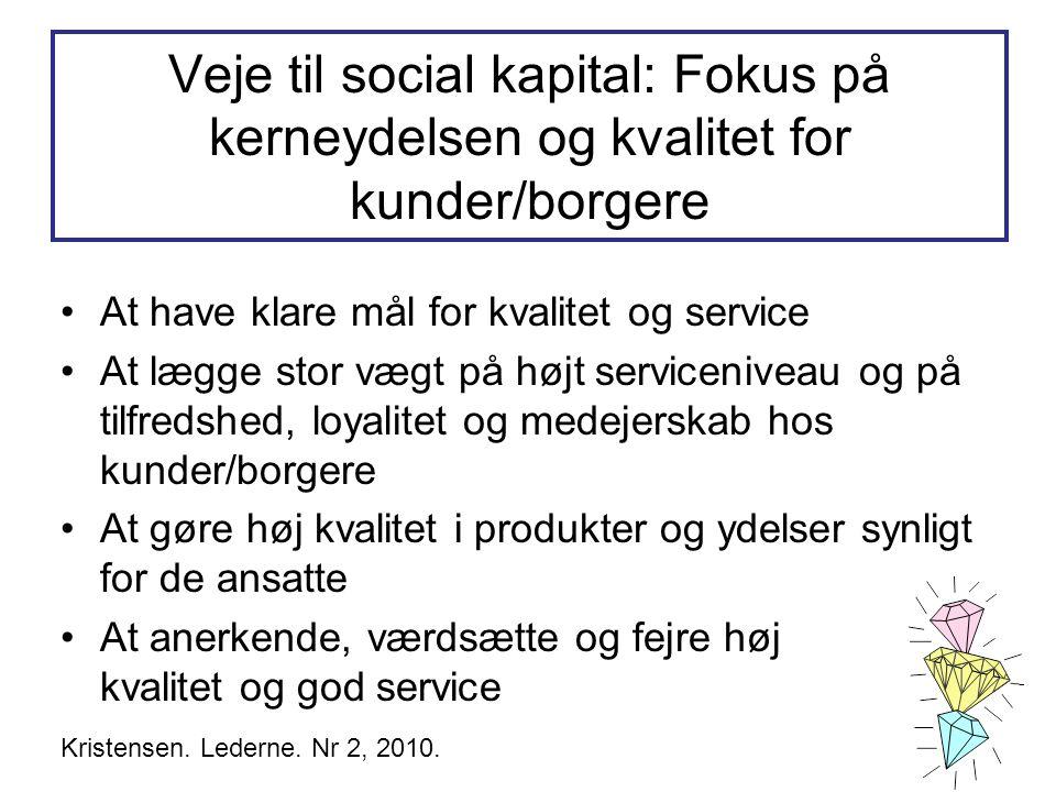 Veje til social kapital: Fokus på kerneydelsen og kvalitet for kunder/borgere •At have klare mål for kvalitet og service •At lægge stor vægt på højt s