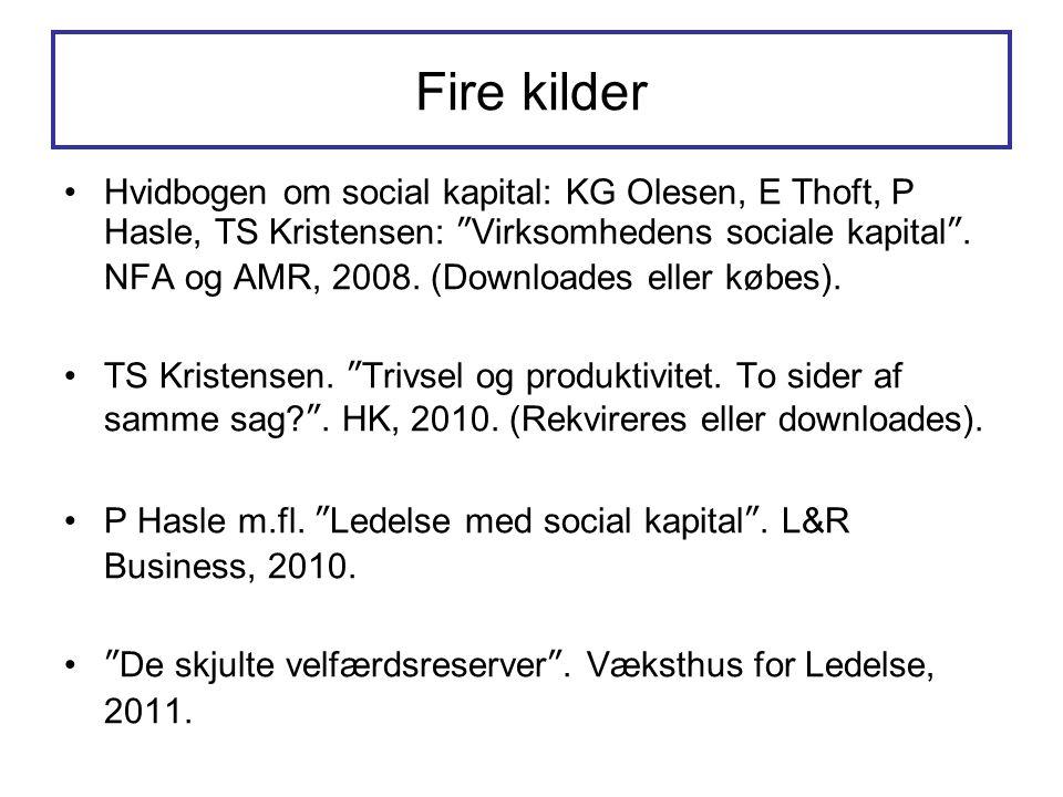 """Fire kilder •Hvidbogen om social kapital: KG Olesen, E Thoft, P Hasle, TS Kristensen: """"Virksomhedens sociale kapital"""". NFA og AMR, 2008. (Downloades e"""