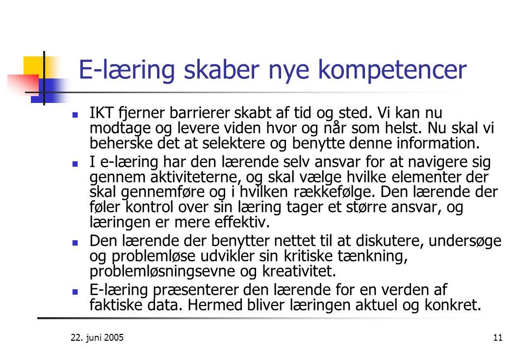 22. juni 200511 E-læring skaber nye kompetencer  IKT fjerner barrierer skabt af tid og sted. Vi kan nu modtage og levere viden hvor og når som helst.