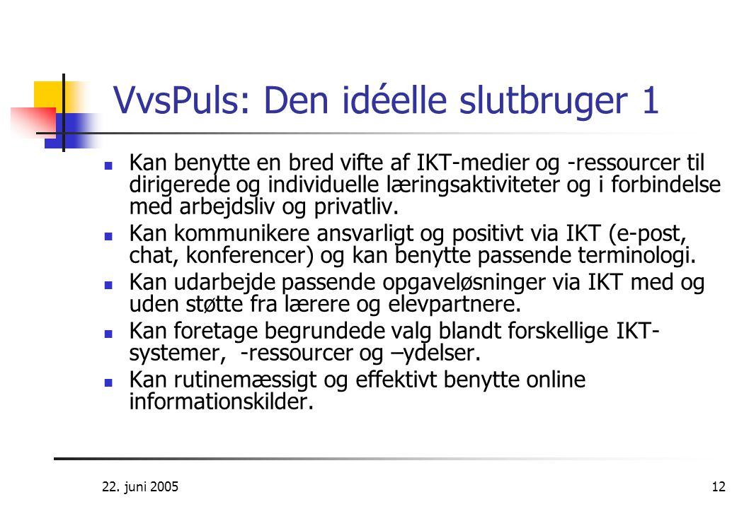 22. juni 200512 VvsPuls: Den idéelle slutbruger 1  Kan benytte en bred vifte af IKT-medier og -ressourcer til dirigerede og individuelle læringsaktiv