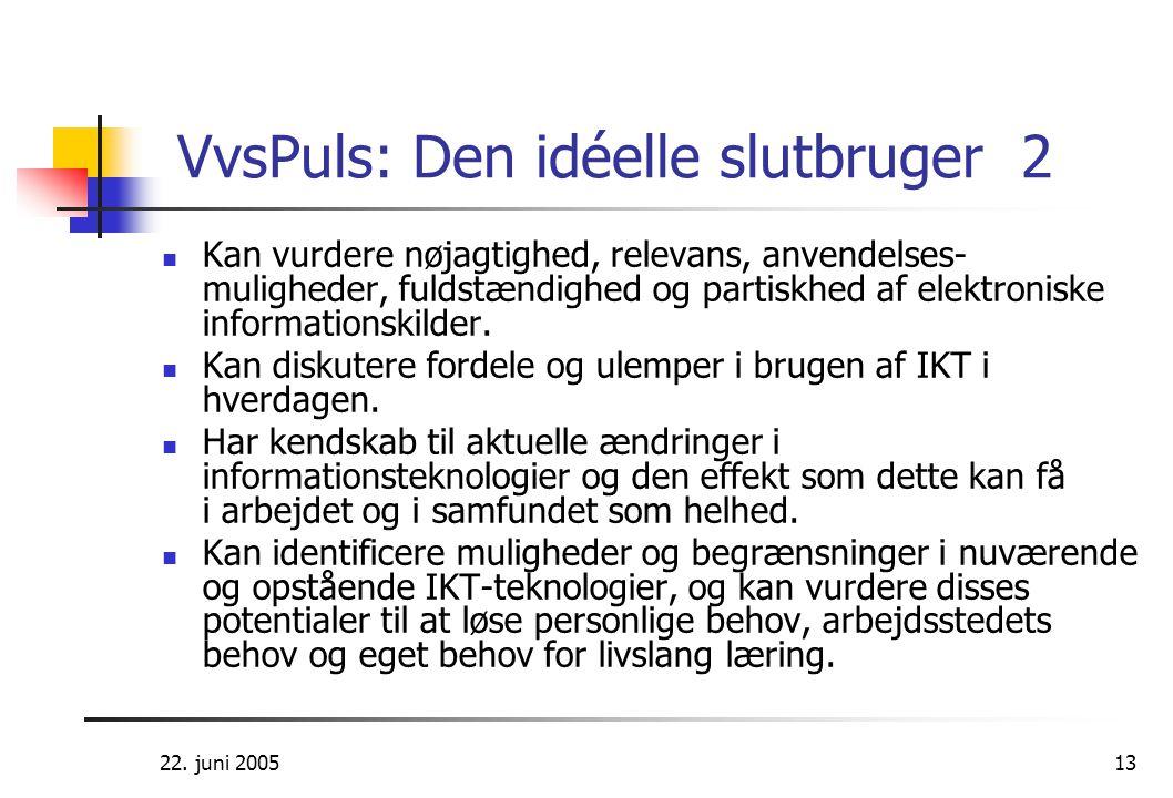 22. juni 200513 VvsPuls: Den idéelle slutbruger 2  Kan vurdere nøjagtighed, relevans, anvendelses- muligheder, fuldstændighed og partiskhed af elektr