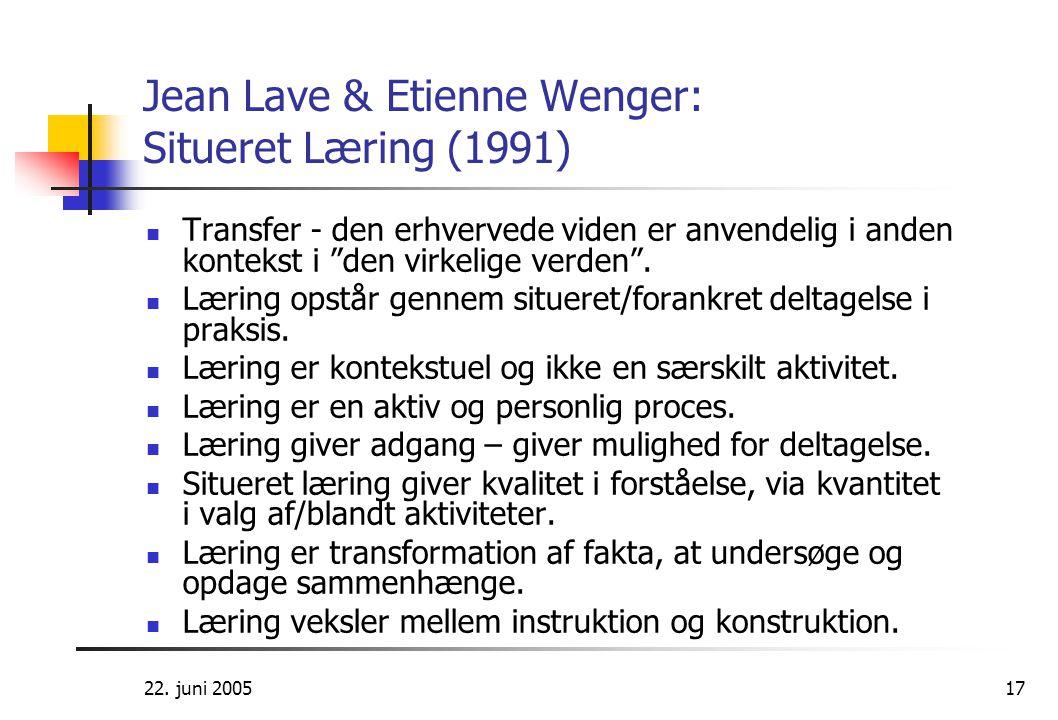 """22. juni 200517 Jean Lave & Etienne Wenger: Situeret Læring (1991)  Transfer - den erhvervede viden er anvendelig i anden kontekst i """"den virkelige v"""