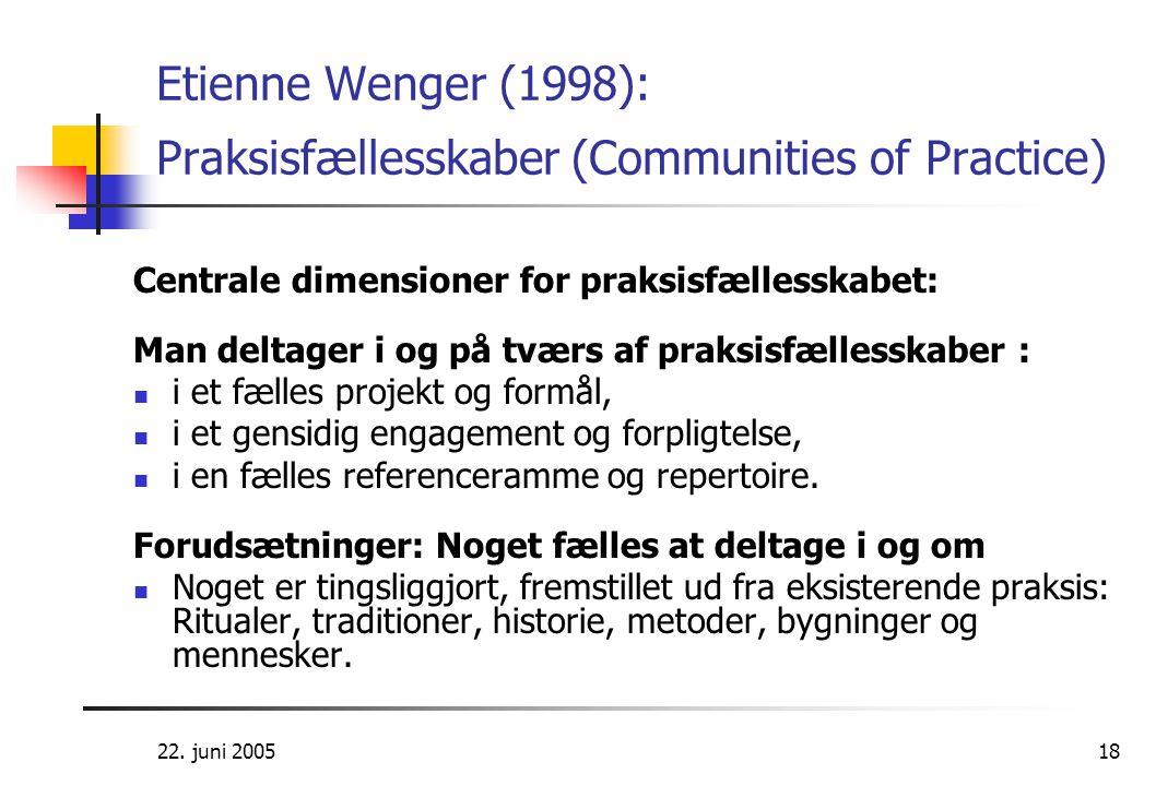 22. juni 200518 Etienne Wenger (1998): Praksisfællesskaber (Communities of Practice) Centrale dimensioner for praksisfællesskabet: Man deltager i og p