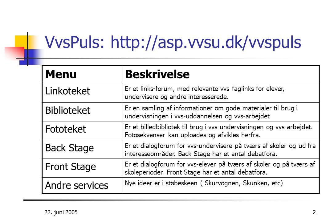 22. juni 20052 VvsPuls: http://asp.vvsu.dk/vvspuls MenuBeskrivelse Linkoteket Er et links-forum, med relevante vvs faglinks for elever, undervisere og