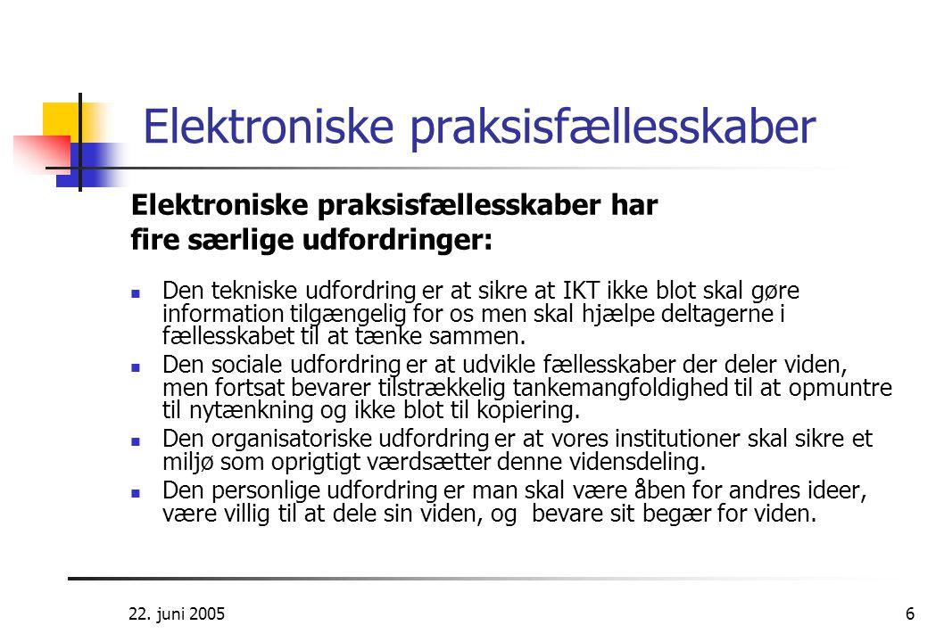 22. juni 20056 Elektroniske praksisfællesskaber Elektroniske praksisfællesskaber har fire særlige udfordringer:  Den tekniske udfordring er at sikre