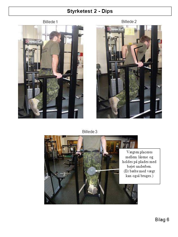 Vægten placeres mellem lårene og holdes på plades med bøjet underben.