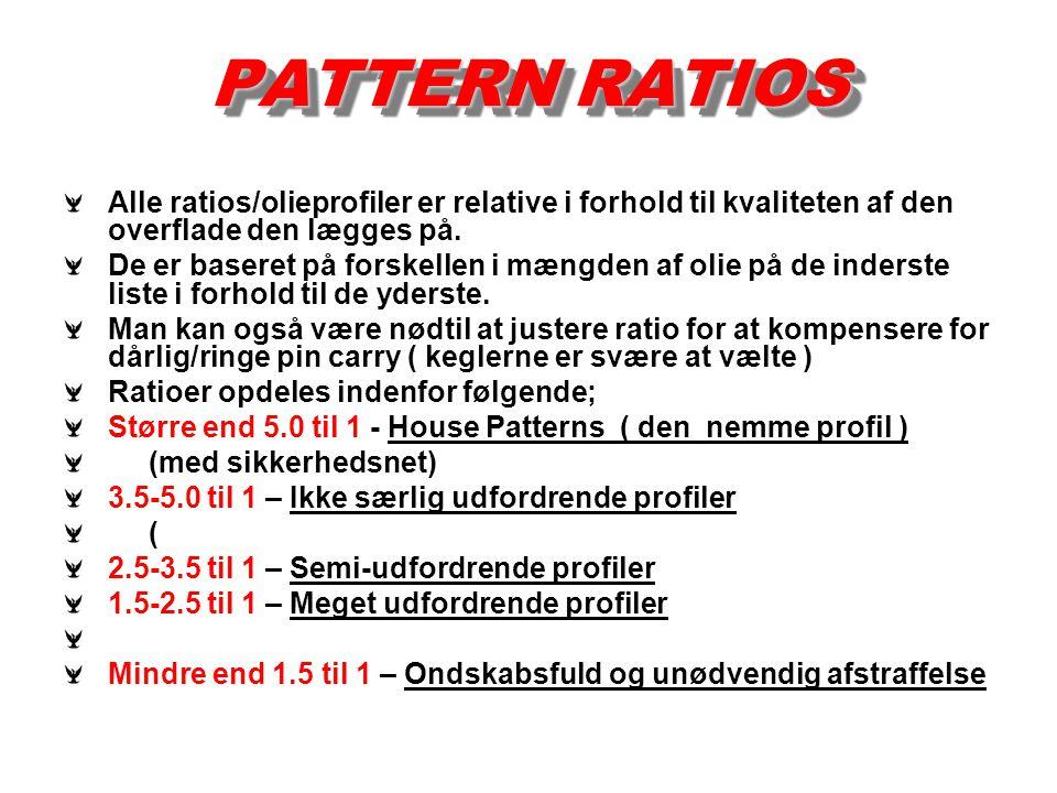 PATTERN RATIOS Alle ratios/olieprofiler er relative i forhold til kvaliteten af den overflade den lægges på. De er baseret på forskellen i mængden af