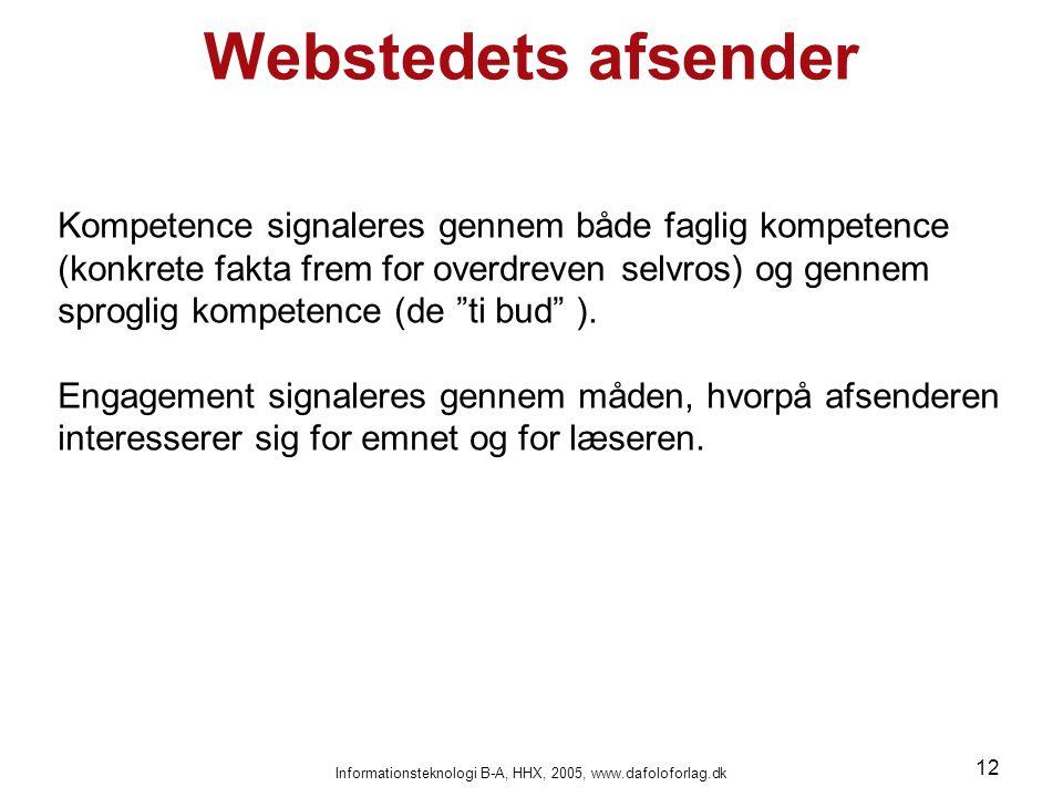 Informationsteknologi B-A, HHX, 2005, www.dafoloforlag.dk 12 Webstedets afsender Kompetence signaleres gennem både faglig kompetence (konkrete fakta frem for overdreven selvros) og gennem sproglig kompetence (de ti bud ).