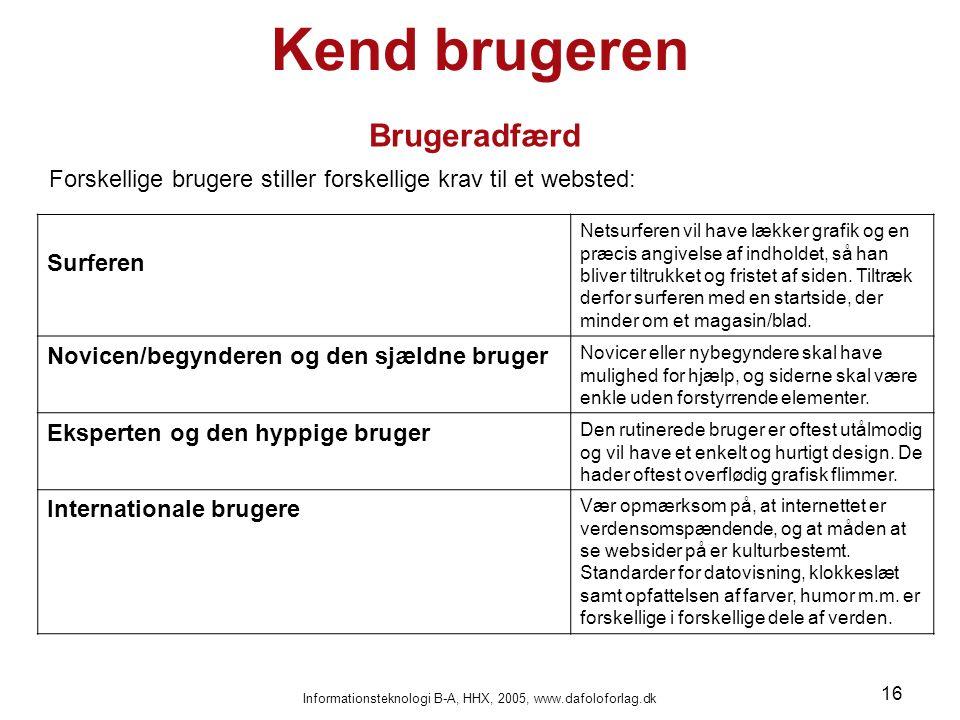 Informationsteknologi B-A, HHX, 2005, www.dafoloforlag.dk 16 Kend brugeren Brugeradfærd Forskellige brugere stiller forskellige krav til et websted: S
