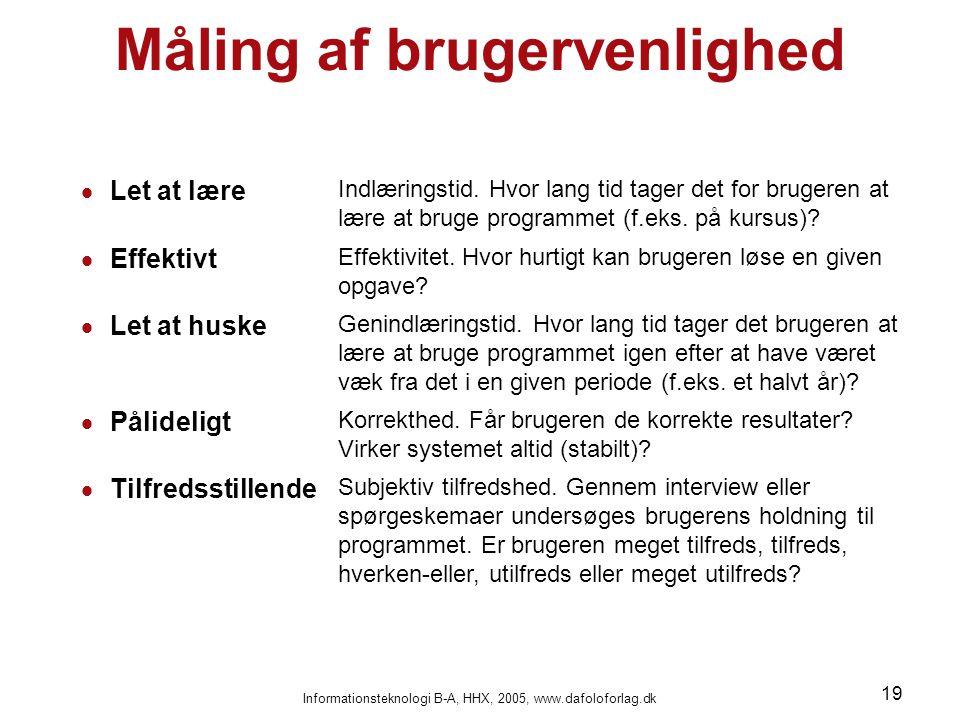 Informationsteknologi B-A, HHX, 2005, www.dafoloforlag.dk 19 Måling af brugervenlighed  Let at lære Indlæringstid. Hvor lang tid tager det for bruger