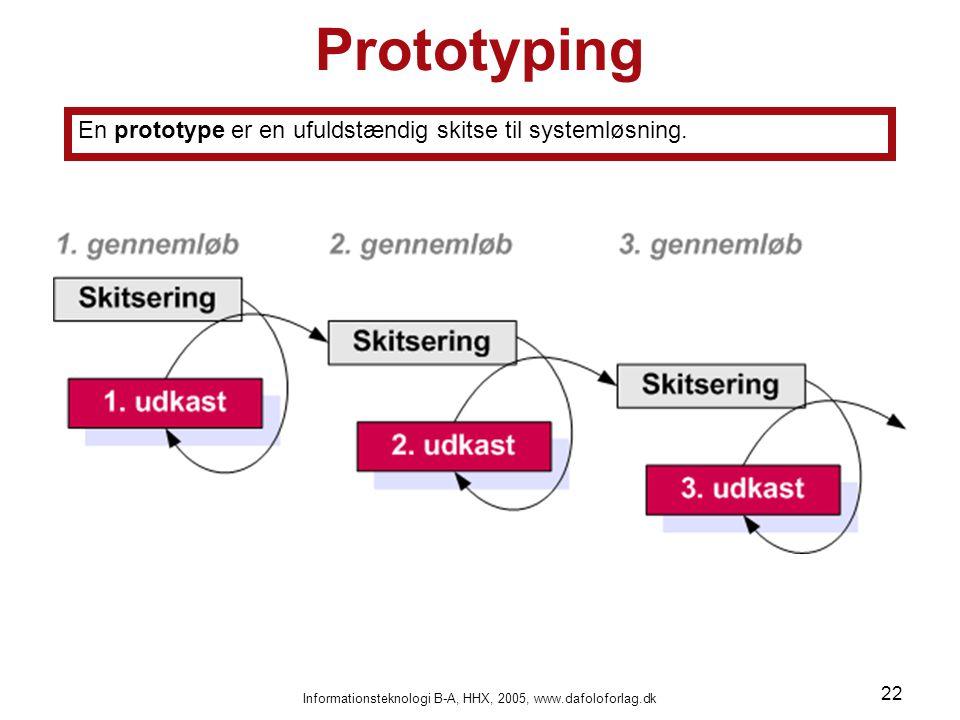 Informationsteknologi B-A, HHX, 2005, www.dafoloforlag.dk 22 Prototyping En prototype er en ufuldstændig skitse til systemløsning.