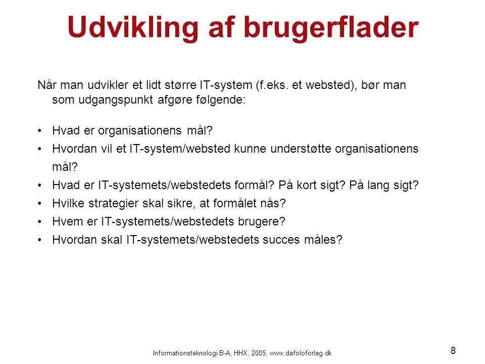 Informationsteknologi B-A, HHX, 2005, www.dafoloforlag.dk 8 Udvikling af brugerflader Når man udvikler et lidt større IT-system (f.eks. et websted), b