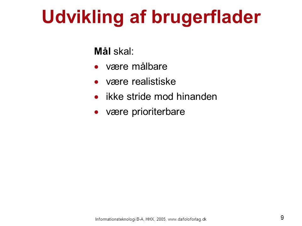 Informationsteknologi B-A, HHX, 2005, www.dafoloforlag.dk 9 Udvikling af brugerflader Mål skal:  være målbare  være realistiske  ikke stride mod hi